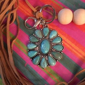 Vintage Country Couture Accessories - Turquoise Key Holder Purse Charm- Large